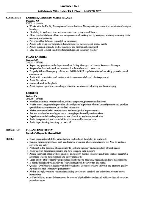 general labor resume sle general labor resume objective