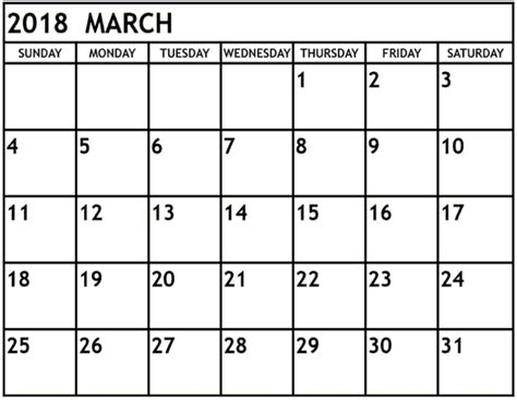 printable monthly calendar march march 2018 monthly calendar printable