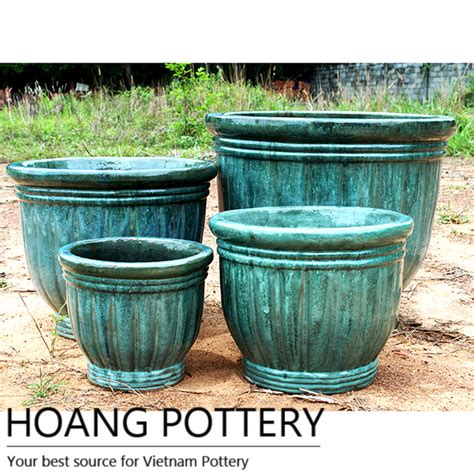 Outdoor Pottery Pots Aqua Green Glazed Ceramic Pot Outdoor Hpth001 Hoang