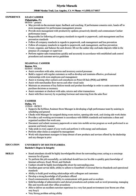 cashier resume objective best sample example resume cashier job