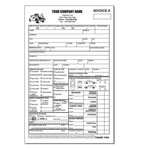 towing invoice forms free invoice