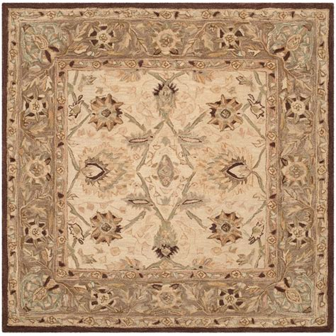 6 square area rug safavieh anatolia ivory brown 6 ft x 6 ft square area rug an512d 6sq the home depot