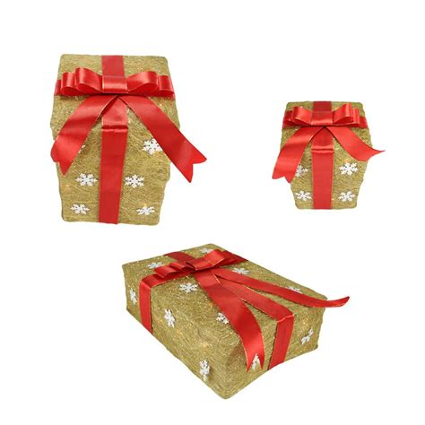 set of 3 gold snowflake sisal gift boxes lighted christmas