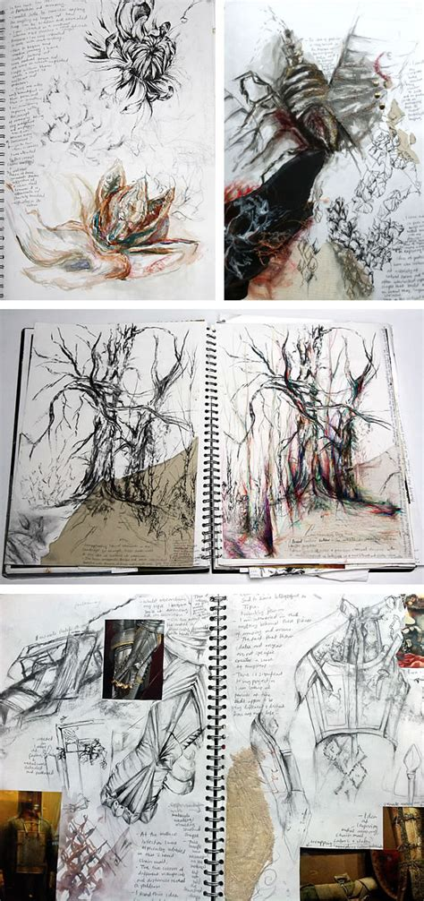 Organic Sketchy Lines by A Level Textiles Beautiful Sketchbook Pages