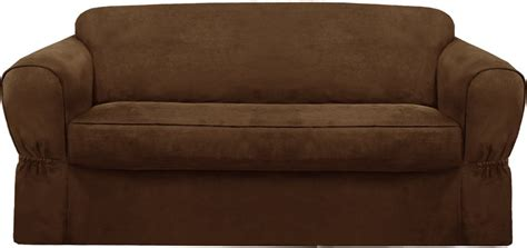 brown loveseat cover 48 off maytex piped suede 2 piece loveseat slipcover brown