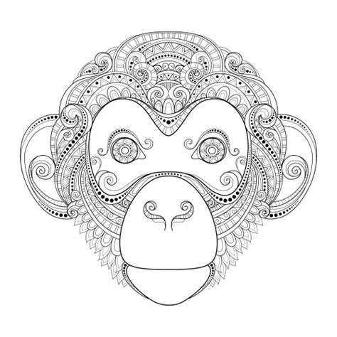 monkey coloring pages for adults monkey advanced coloring page kidspressmagazine com