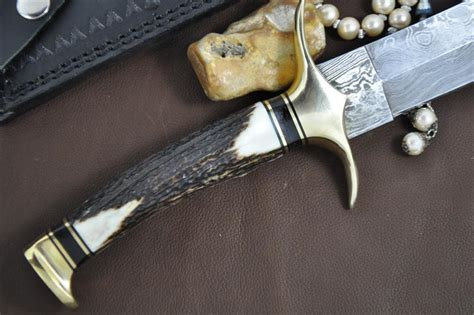 stag handle bowie knife custom handmade damascus beautiful bowie knife with stag