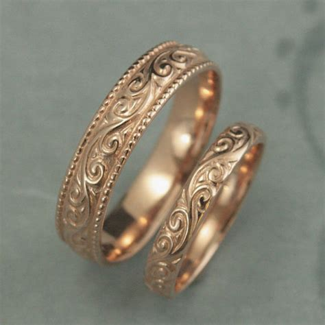 Eheringe Ornament by Antique Style Wedding Ringsflourish Wide Wedding Set14k