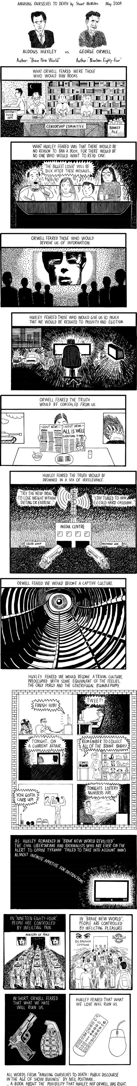 themes of brave new world and 1984 huxley vs orwell the webcomic biblioklept