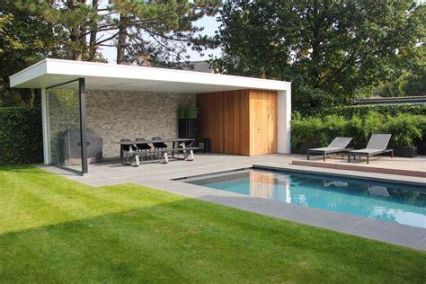 Pool House En beton zwembad met liner en modern poolhouse dcpools