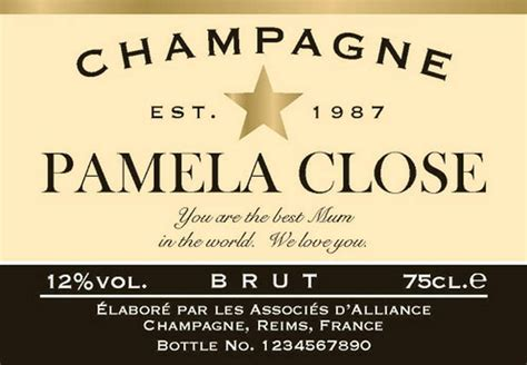star personalised champagne labels by chalk amp cheese