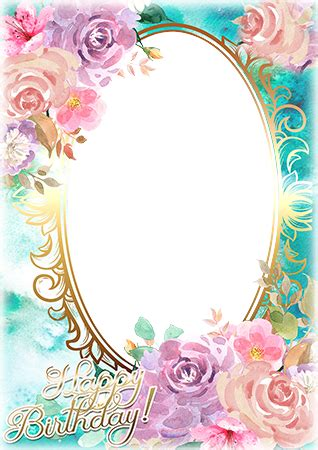 photo frames. watercolor based birthday greeting card