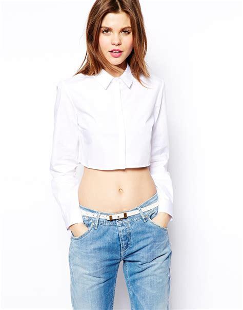 Crop Shirt asos crop shirt in white lyst