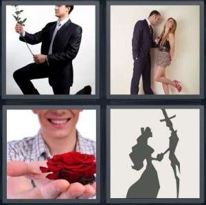 4 pics 1 word answer for propose, romance, rose, date