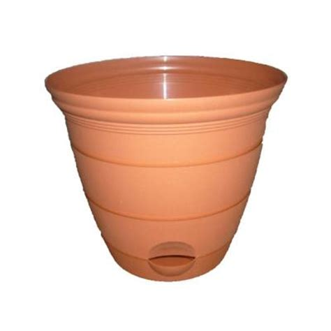 misco 18 in clay plastic self watering terra planter 1833