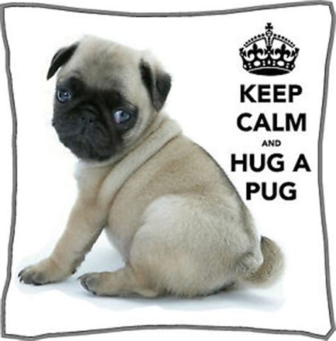 all about pugs information keep calm and hug a pug cushion cover personalised 18 quot x 18 quot gift mothers day ebay