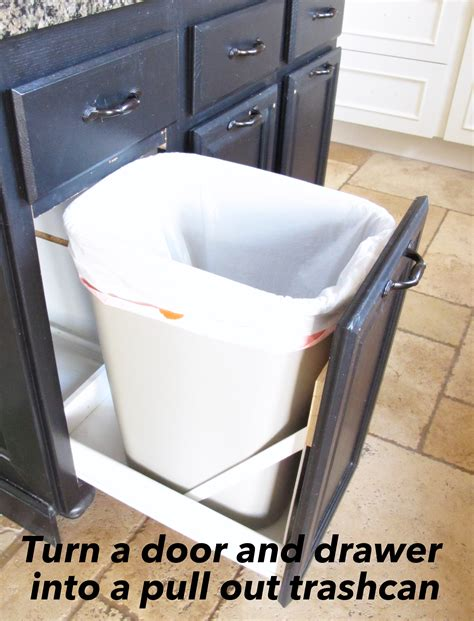 Pull Out Garbage Drawer turn a door and a drawer into a pull out trash can