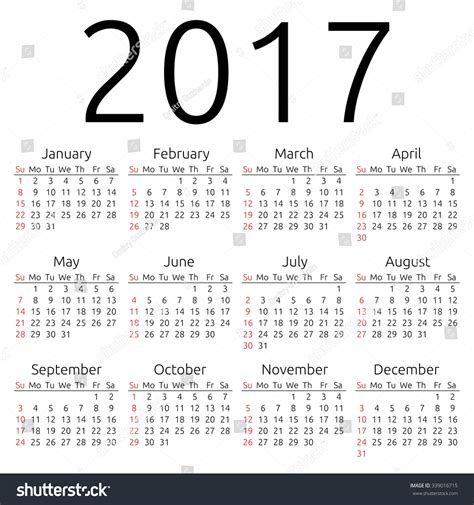 Calendar What Week Of The Year Is It Simple 2017 Year Calendar Week Starts Stock Vector