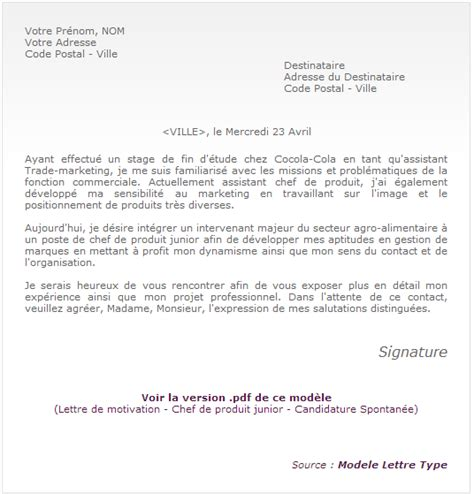 Exemple Lettre De Motivation Candidature Ecole De Commerce Modele Lettre De Candidature Spontanee
