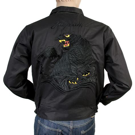 Black Mix Tiger Jacket cool cotton twill black jackets for by tailor toyo