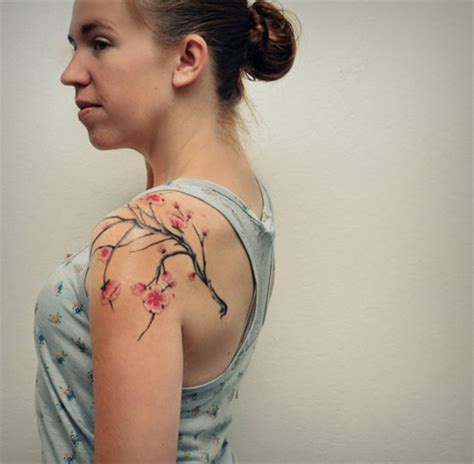 over the shoulder tattoos 53 beautiful cherry blossoms shoulder tattoos