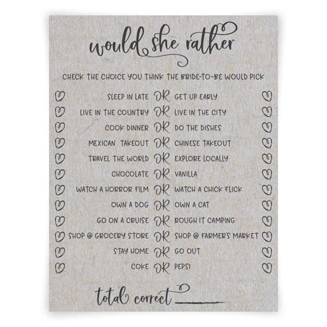 Grey Would She Rather Sayidoprintablesstore Would They Rather Bridal Shower Template