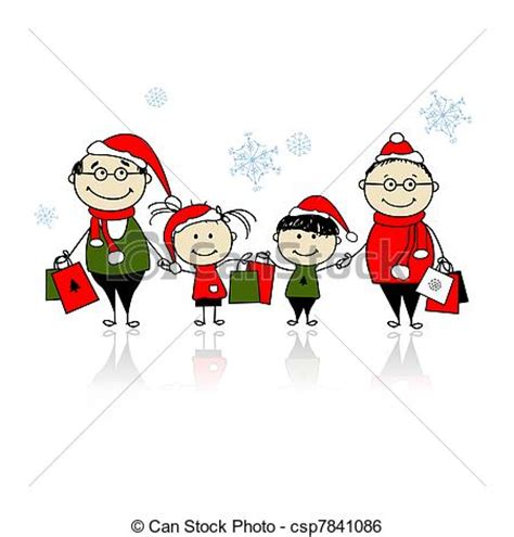 clipart famiglia famiglia shopping natale insieme felice