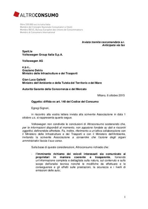 lettere legali altroconsumo controreplica a volkswagen 06 10 2015