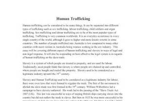 Slavery Today Essay by Human Trafficking In Australia This Essay Will Be Covering Different Aspect Of Human