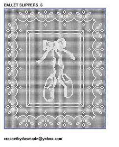 Filet Crochet Patterns For Home Decor 6 Ballet Slippers Filet Crochet Doily Wallhanging Pattern Crochetbydasmade Patterns On Artfire