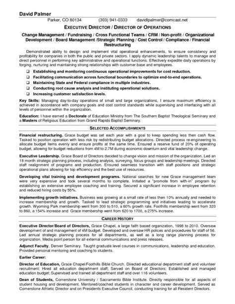 executive director non profit resume sles of resumes