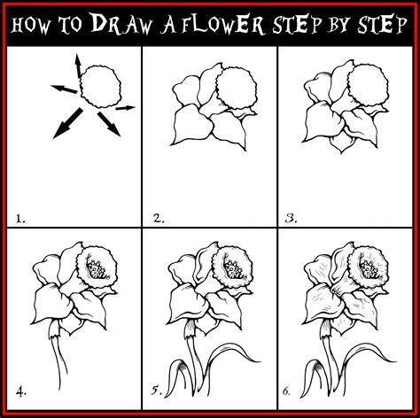 Drawing Guide Daryl Hobson Artwork How To Draw A Flower Step By Step