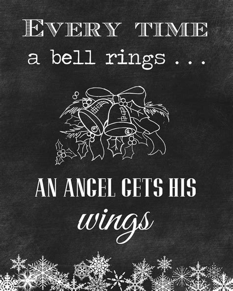 christmas quotes  time  bell ringsan angel   wings  chalkboard printable