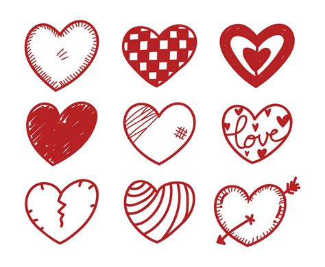 free doodle hearts doodle set vector graphics freevector