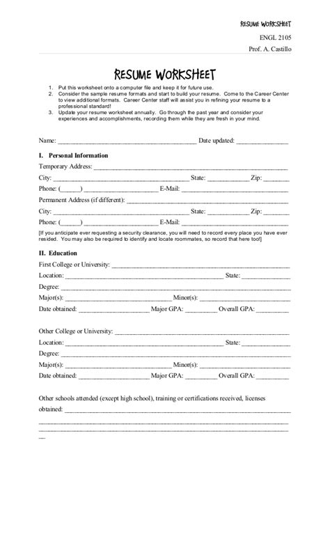 Resume Worksheet by Resumes Worksheet For High Schoolers Resumes Best Free
