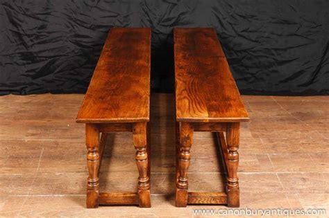 refectory bench pair oak farmhouse benches seats refectory bench