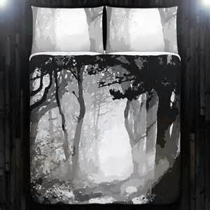 Gray shade forest woodland tree duvet cover bedding queen king twin