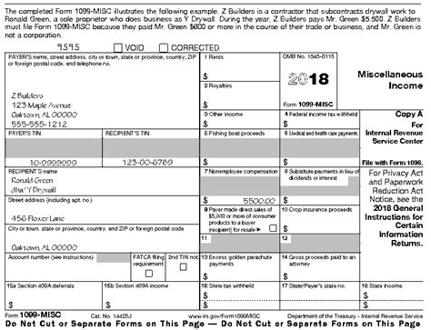printable w2 instructions instructions for form 1099 misc 2018 internal revenue