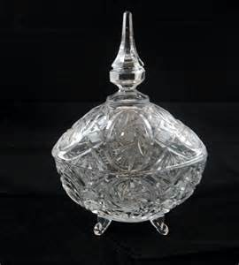 Dresden Vase Vintage Lead Crystal Footed Candy Dish Germany By