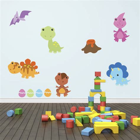 dinosaur wall stickers baby dinosaurs wall sticker pack by mirrorin