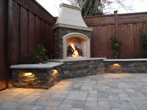 innovative outdoor fireplace designs at the backyards corner with l