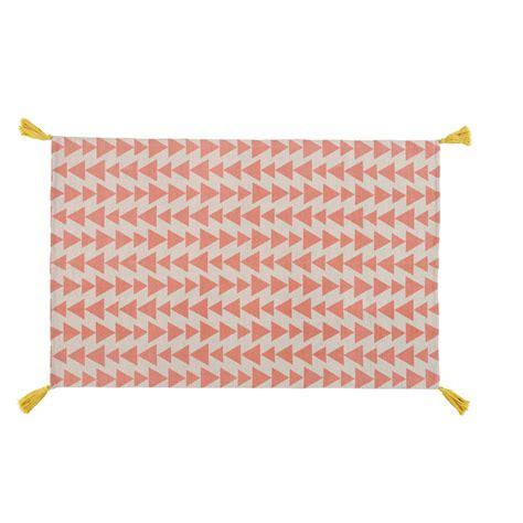 tappeto rosa tappeto rosa con motivi a triangolo in cotone 120 x 180 cm