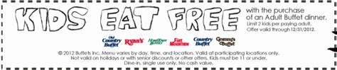 hometown buffet free kid s buffet printable coupon