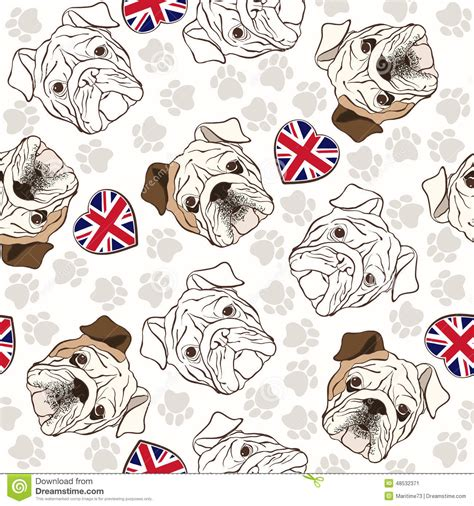 english pattern vector vector seamless pattern with english bulldog traces and