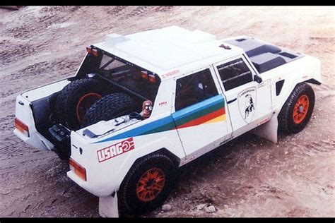 lamborghini rally car rear view of the original lm002 dakar rally car