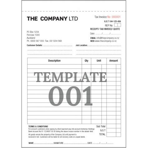 tax invoice template nz a4 invoice books 1 or 2 colour duplicate or triplicate