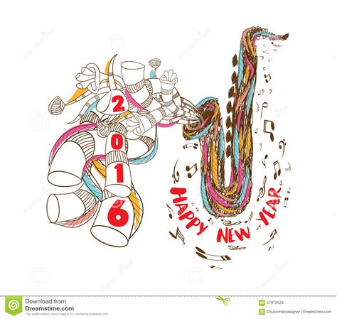 musical doodle free happy new year 2016 musical with jazz saxophone doodle