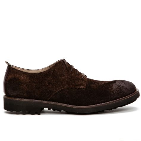 brown derby shoes ruffa suede derby shoes in brown for lyst