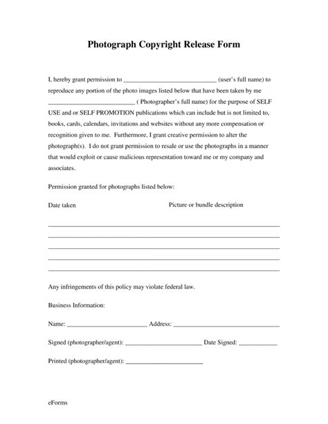 photography permission form template free generic photo copyright release form pdf eforms