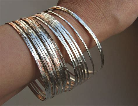 Handcrafted Sterling Silver Bracelets - thin handmade hammered sterling silver stack bangle